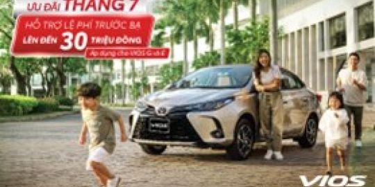 Hỗ trợ 50% phí trước bạ với Toyota Vios trong tháng 7