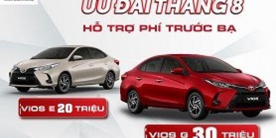 Hỗ trợ 50% phí trước bạ với Toyota Vios trong tháng 8