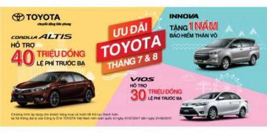 Toyota Việt Nam tiếp tục triển khai chương trình khuyến mãi cho khách hàng